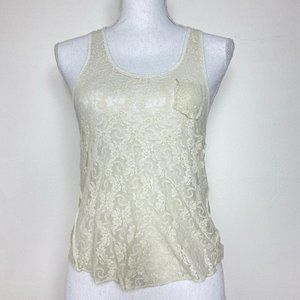 Free People We the Free Womens Top Ivory Lace Floral Tank Pocket Tee Size XS